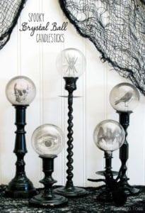 spooky crystal ball candlesticks diy halloween decorations
