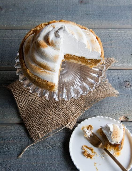 thanksgiving pie - deep-dish pumpkin meringue