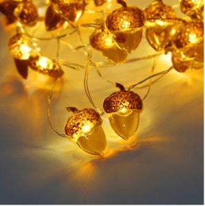 thanksgiving table decor acorn lights