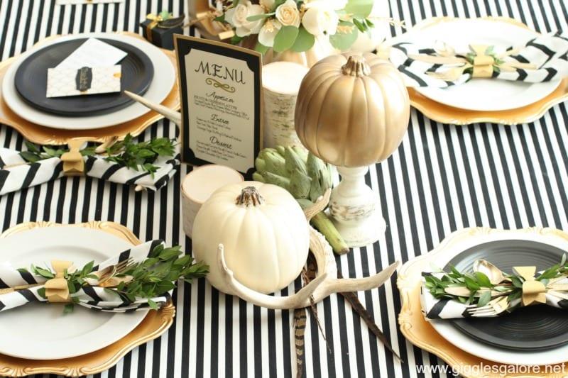 thanksgiving table decor black white gold