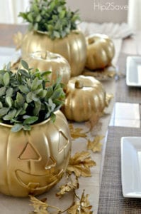 thanksgiving table decor gold pumpkin