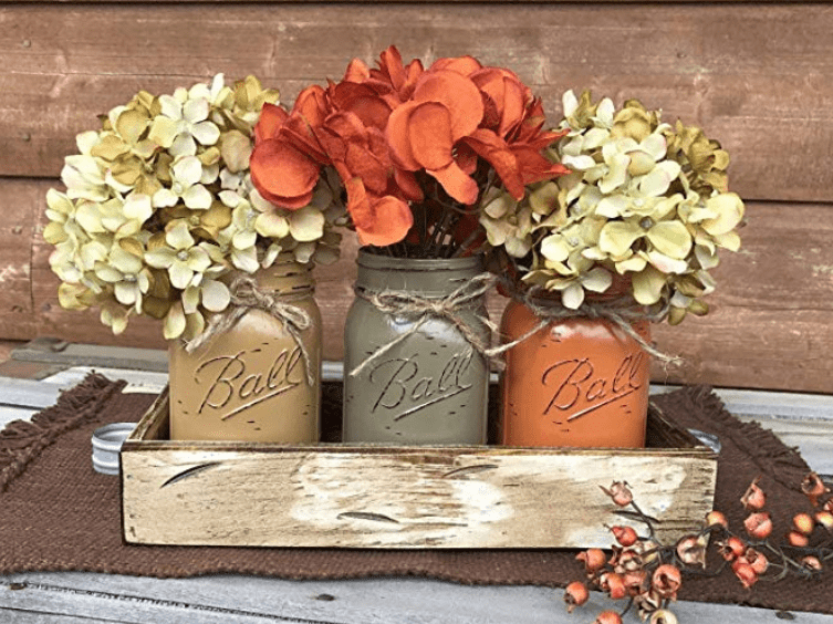 thanksgiving table decor mason jars