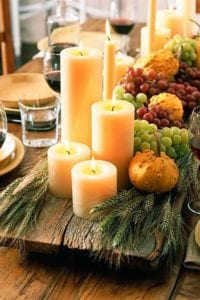 thanksgiving table decor pillar candles