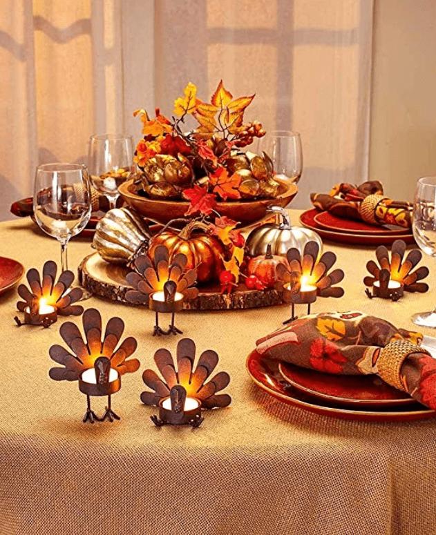 thanksgiving table decor turkey tea light candleholders