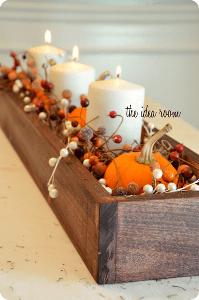 thanksgiving table decor wood centerpiece
