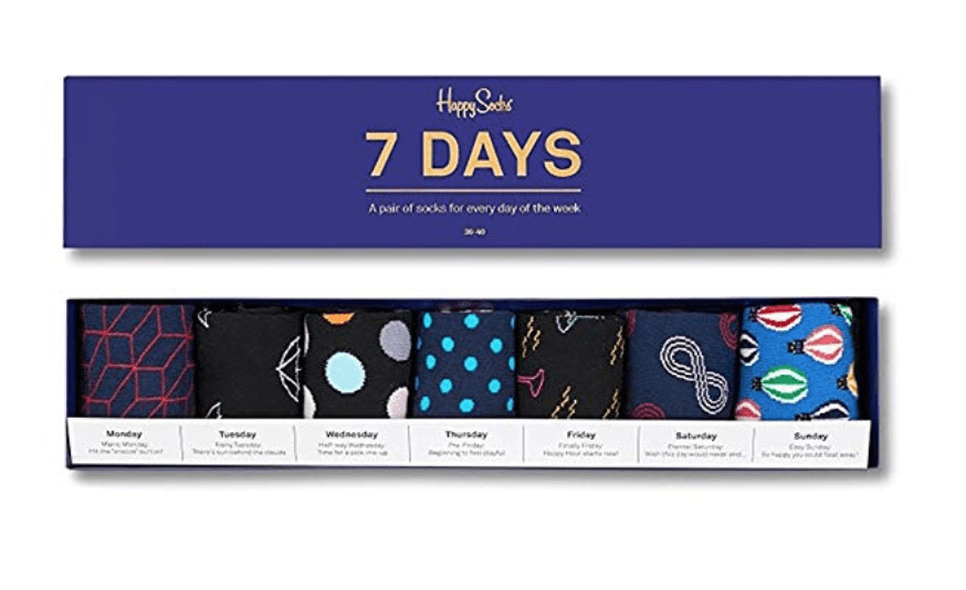 assorted 7 days happy socks gift set