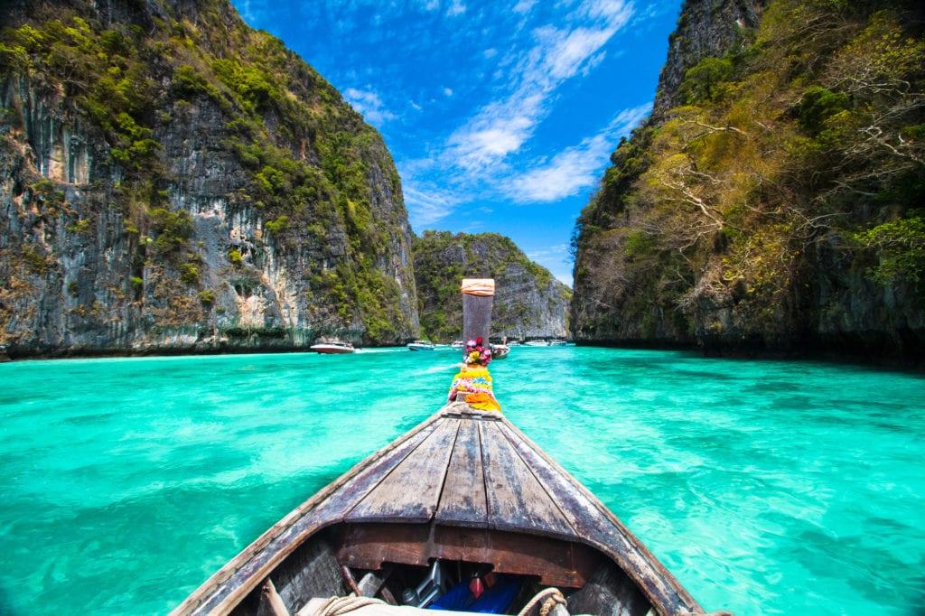 wooden boat in beautiful islands of phi phi
