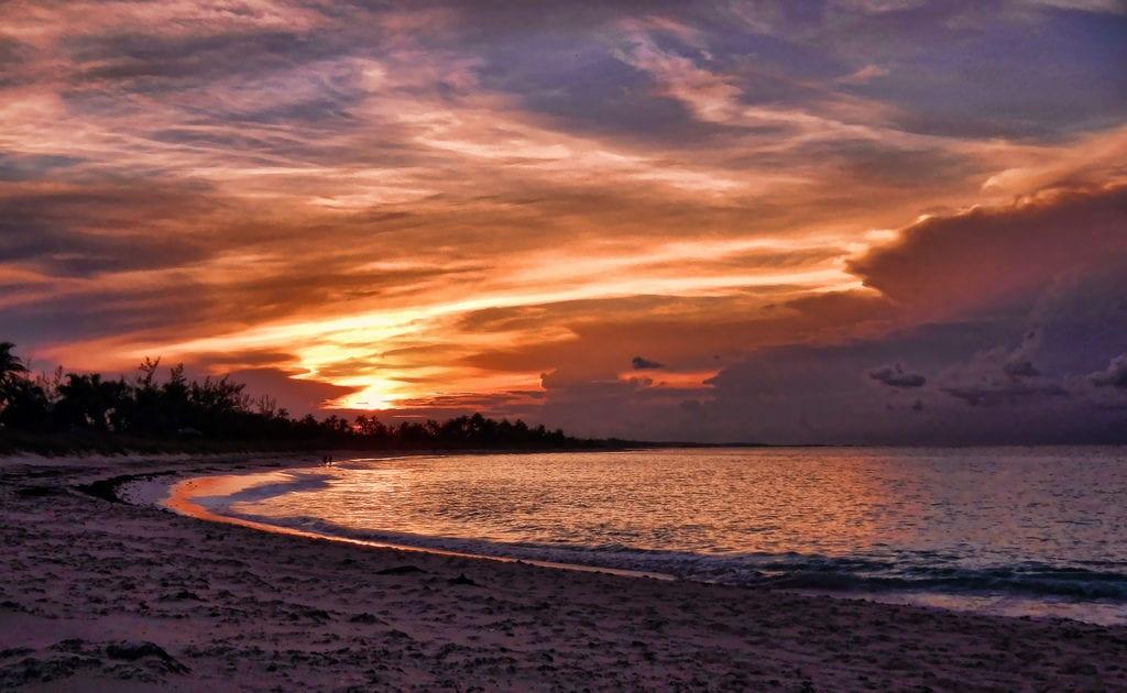 beautiful sunset onbeach in euthera islands