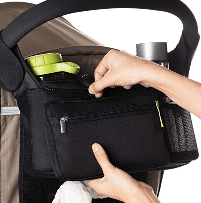 a stroller organizer is one of the best baby shower gifts to give a mom