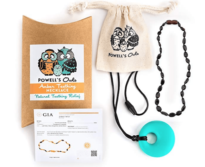 a list of best baby shower gifts including a teething necklace gift set