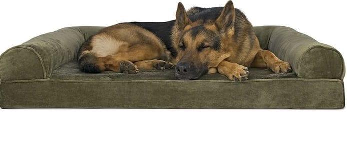 best dog beds - furhaven faux fur & velvet memory top sofa