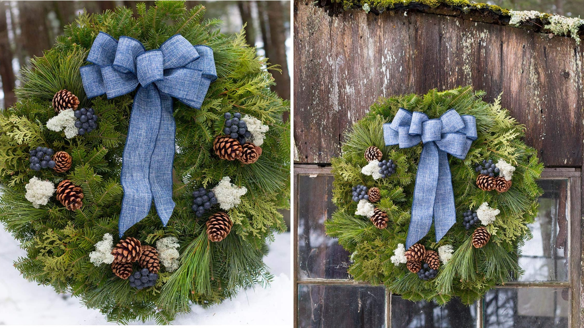blueberry and blue bow christmas wreath