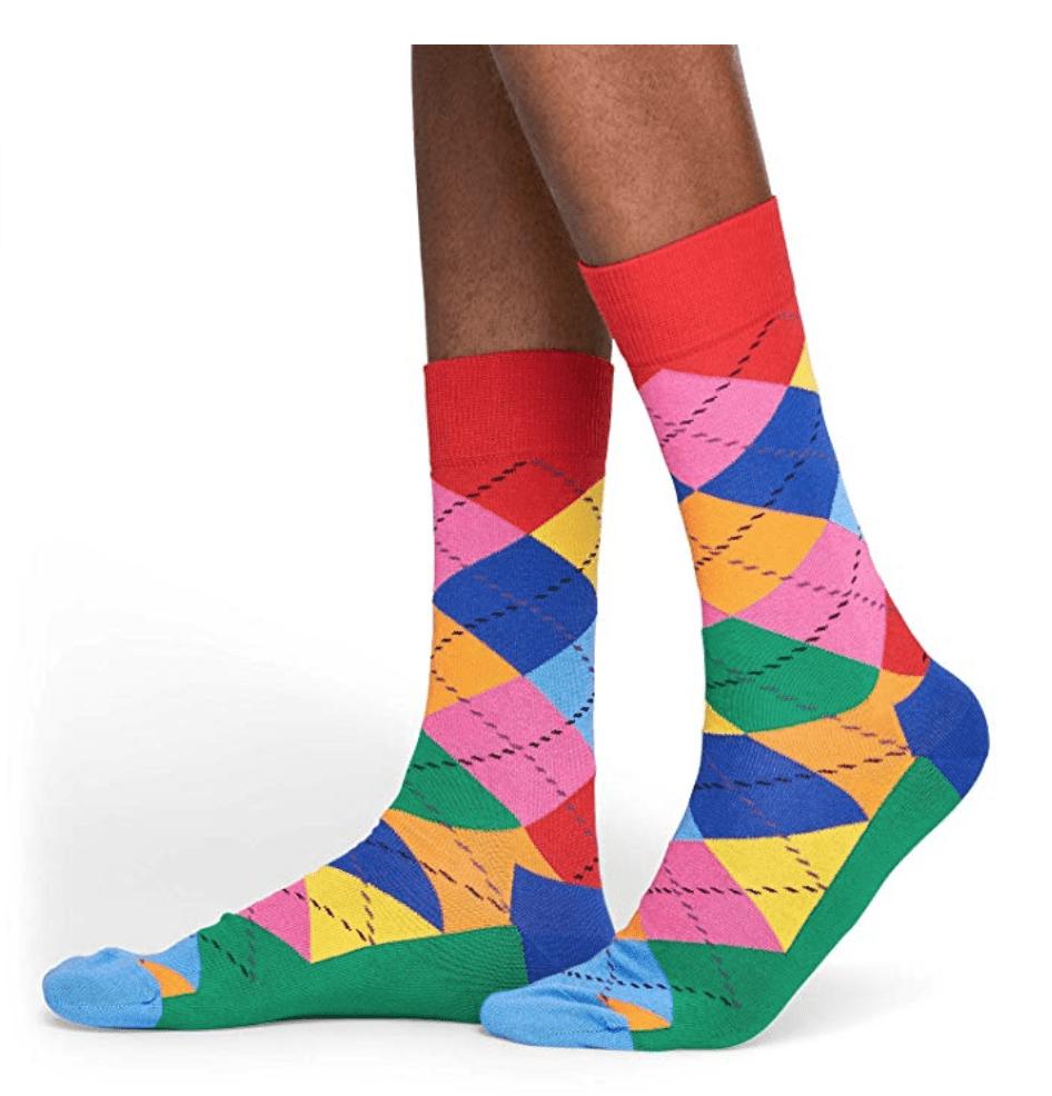 colorful argyle happy socks