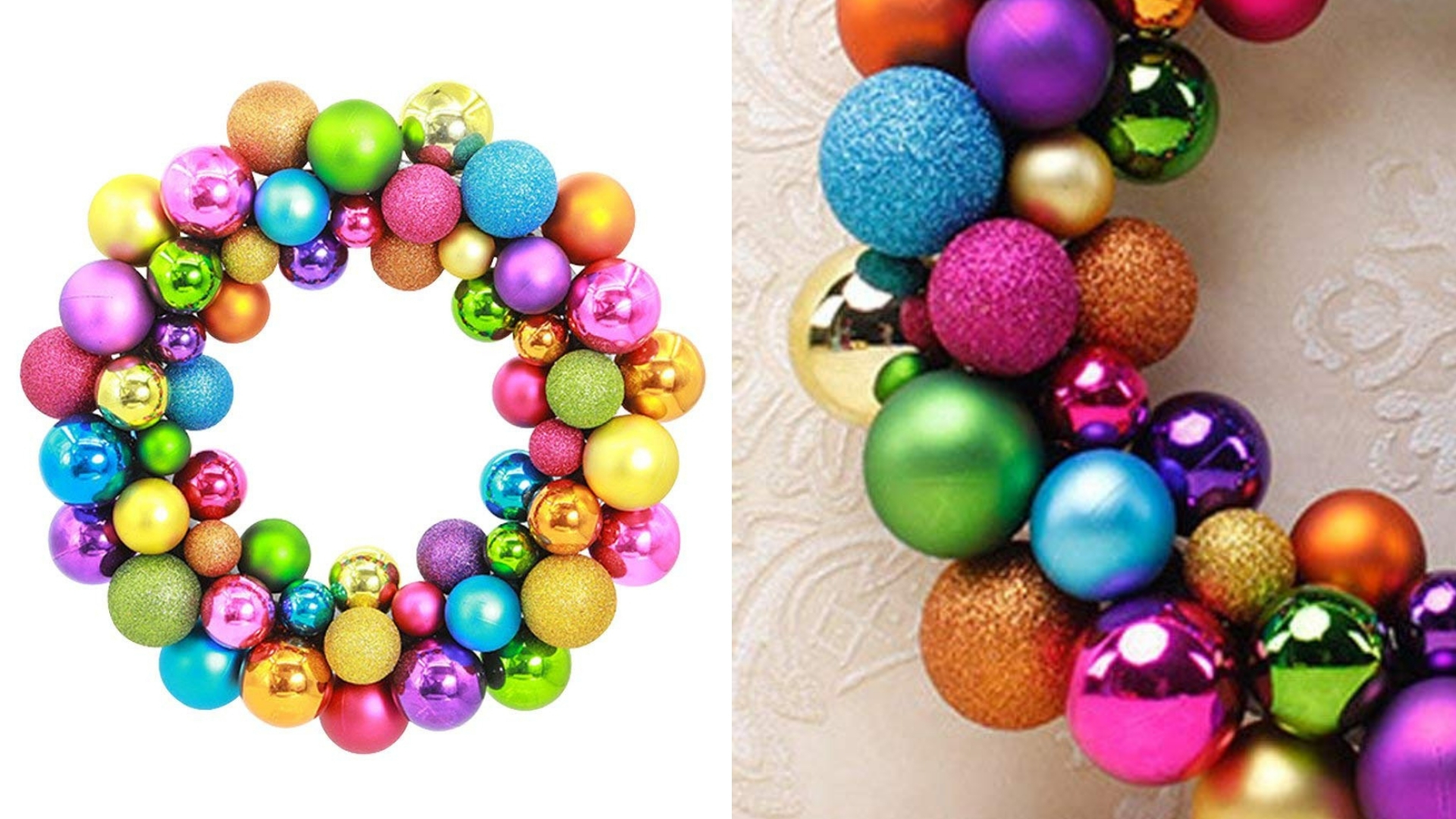 colorful glittery balls Christmas wreath idea