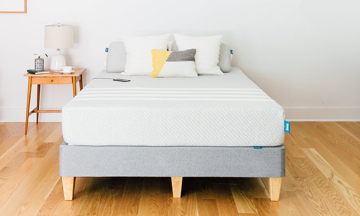 comfortable leesa bed on wooden floor