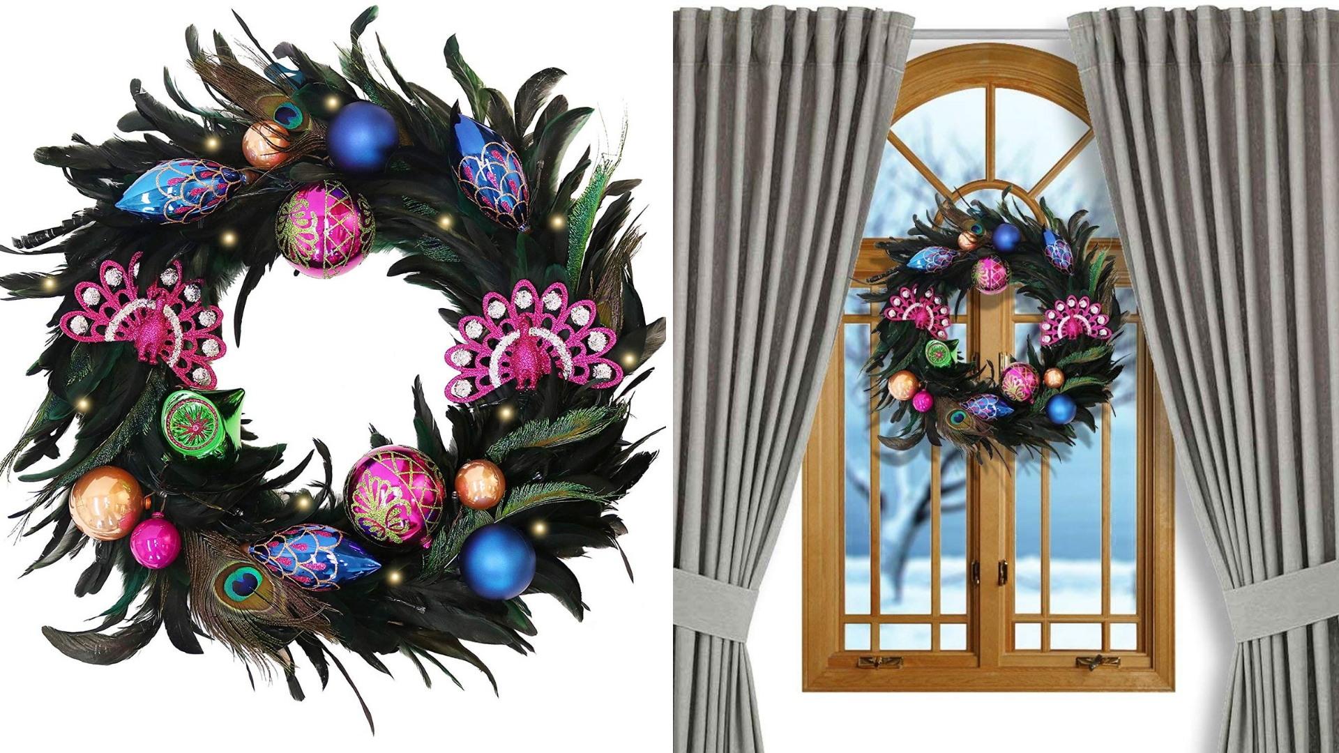 decorative peacock christmas wreath
