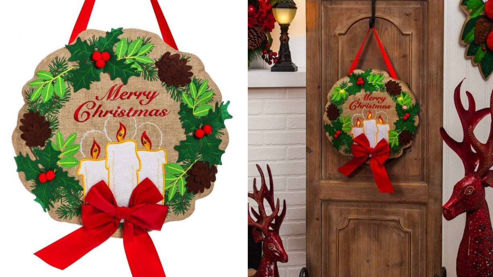 evergreen candle light christmas wreath
