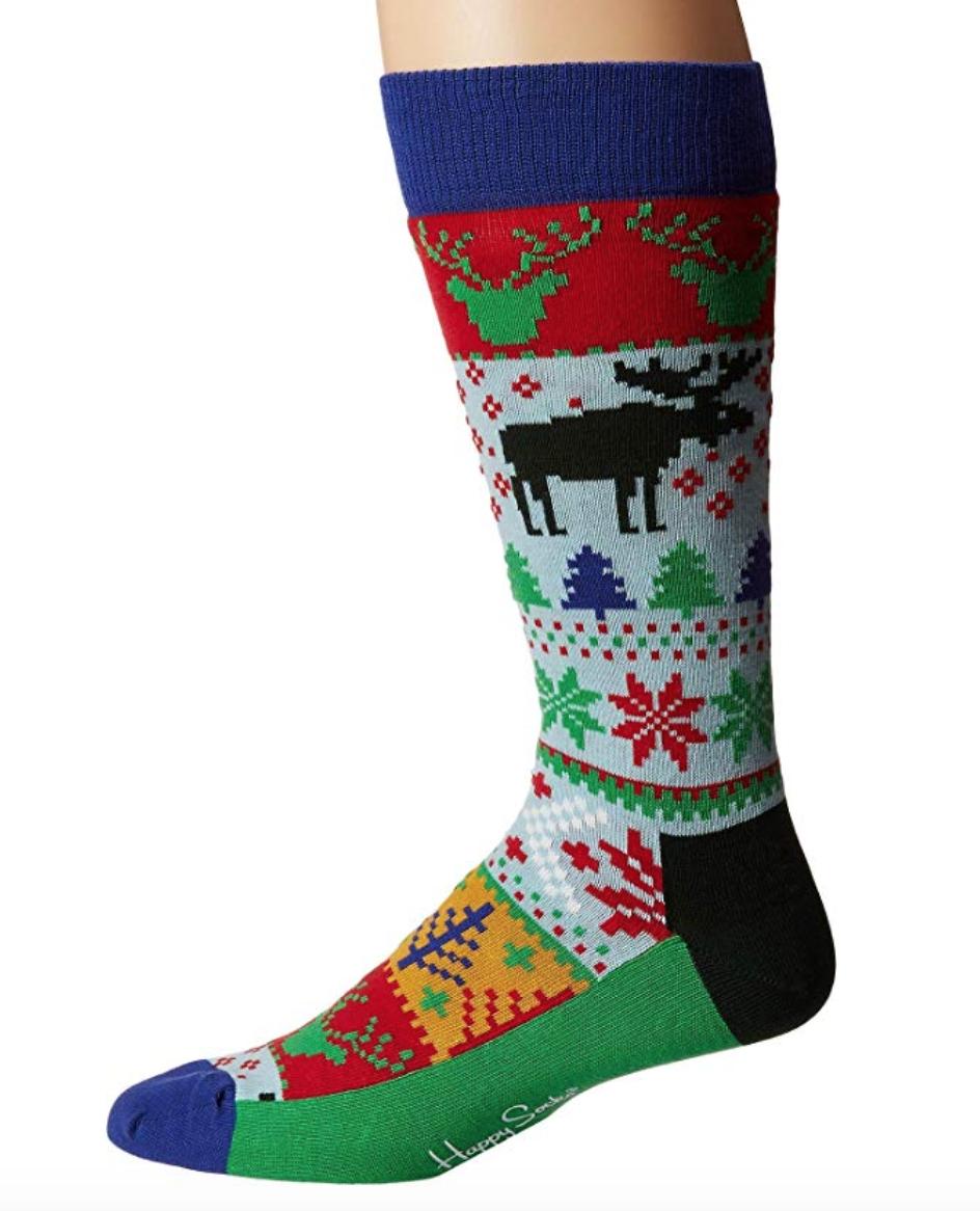 happy socks men's fair isle sock