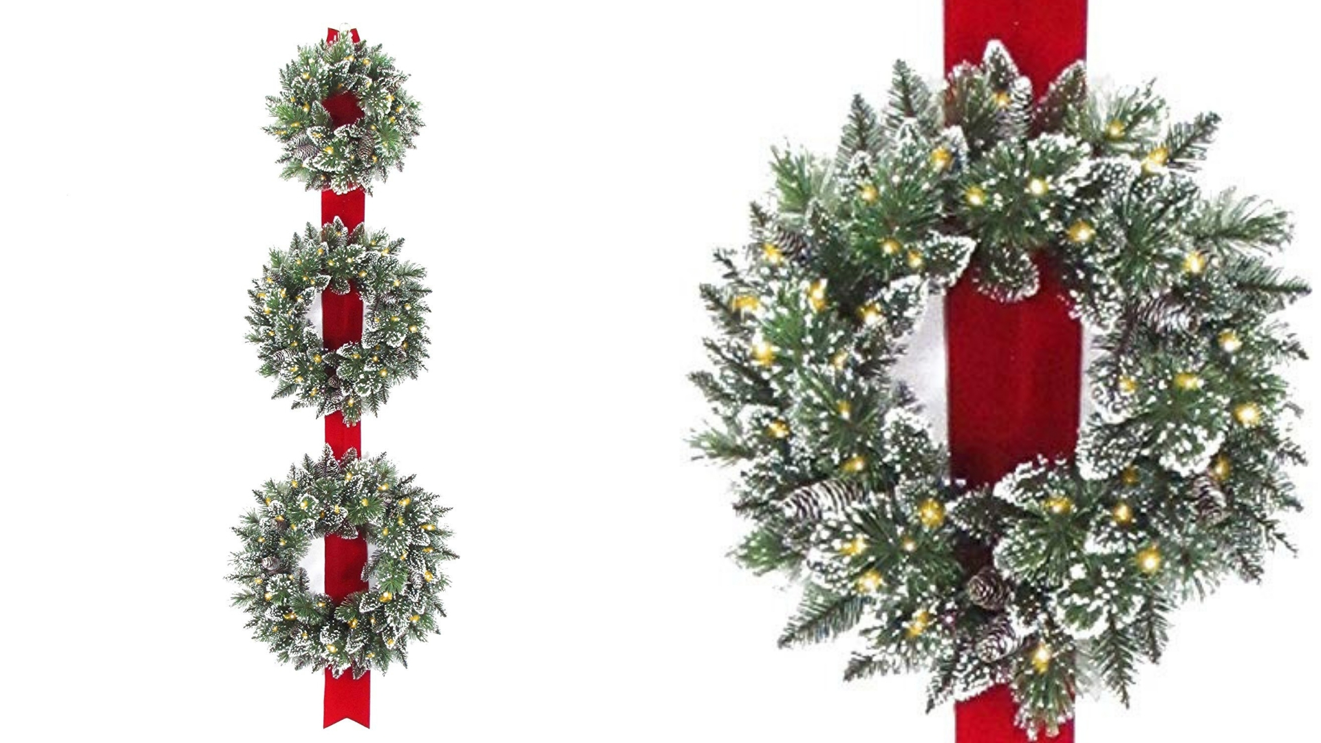 set of 3 christmas wreath