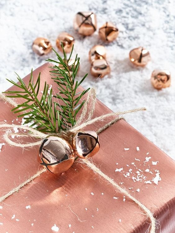 beautiful copper chirstmas gift wrap with bell