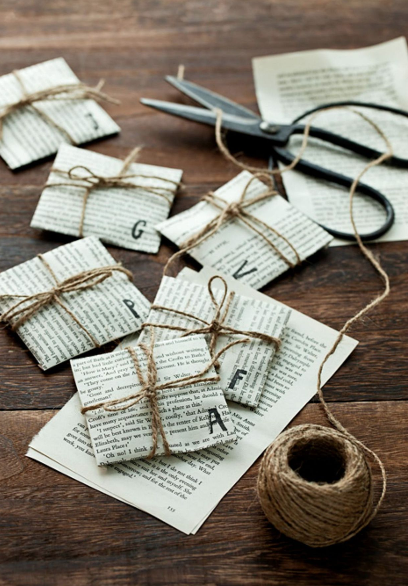 book pages tied up with string for wrapping presents