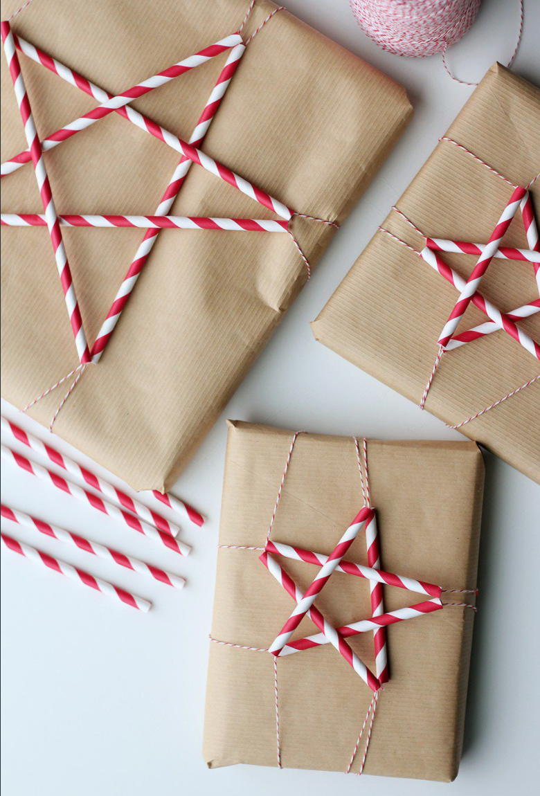 brown paper andpaper straws are an easy Christmas gift wrap idea
