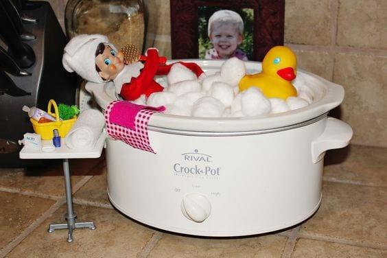 The Elf on the Shelf took a bubble bath in the crock pot