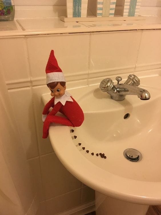 The elf pooped in the sink!