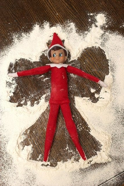 He made a snow angel out of flour