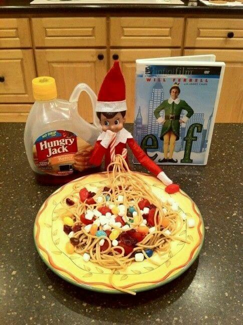 The Elf on the shelf made himself breakfast
