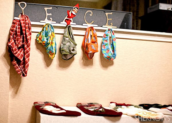 The elf replaced the stocking with underwear!