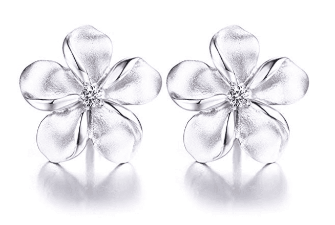 gift for mom that loves jewelry, sterling silver hawaiian plumeria flower earrings