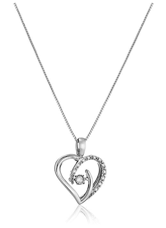 gifts for mom, dancing diamond sterling silver heart pendant necklace