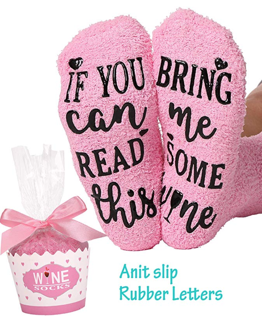 gifts for mom that likes a cozy night in, if you can read this bring me some wine bed socks