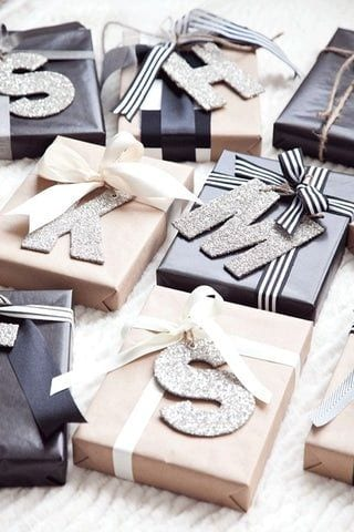 glittery letters are cute when added to your Christmas gift wrap