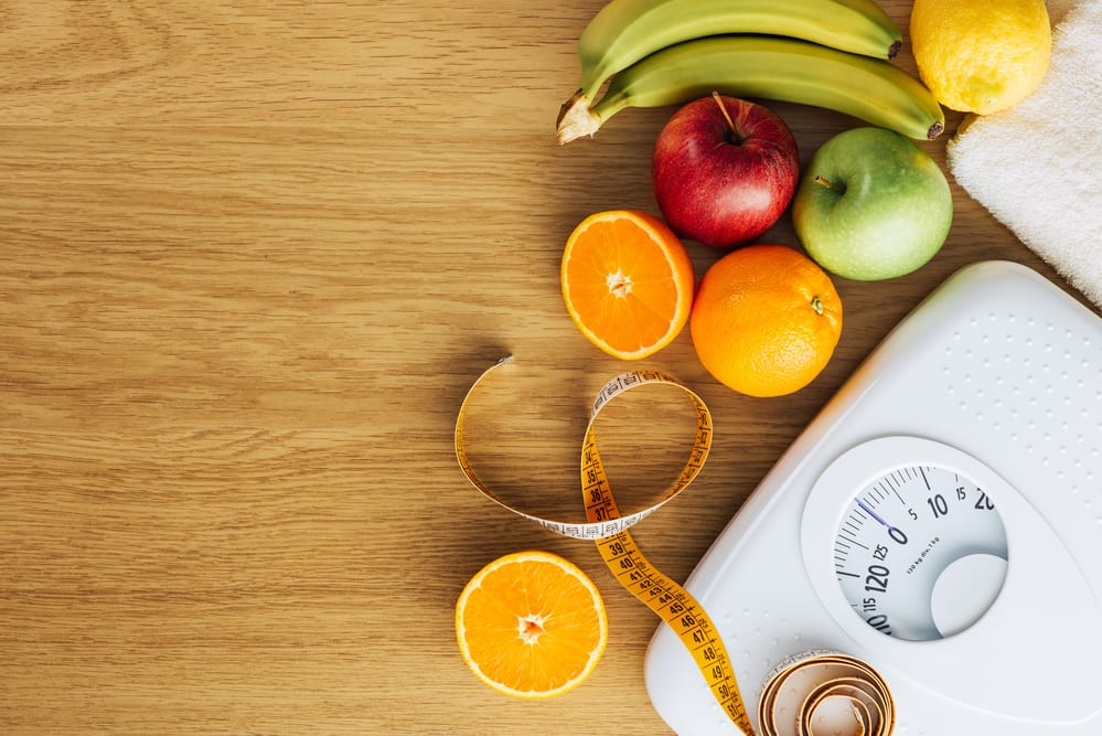 healthy food and scale weight loss from intermittent fasting