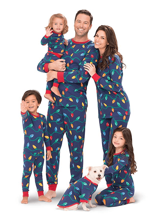 holiday decorations matching family christmas pajamas