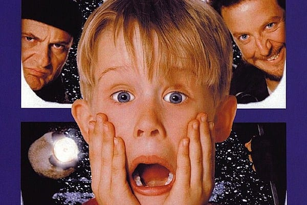 The classic Home Alone image, with Kevin screaming