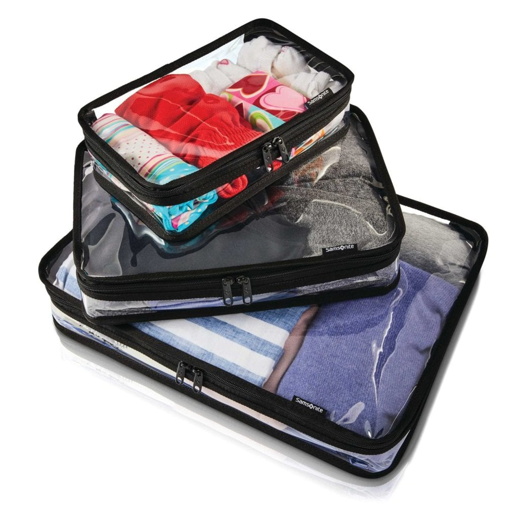 Samsonite clear packing cubes
