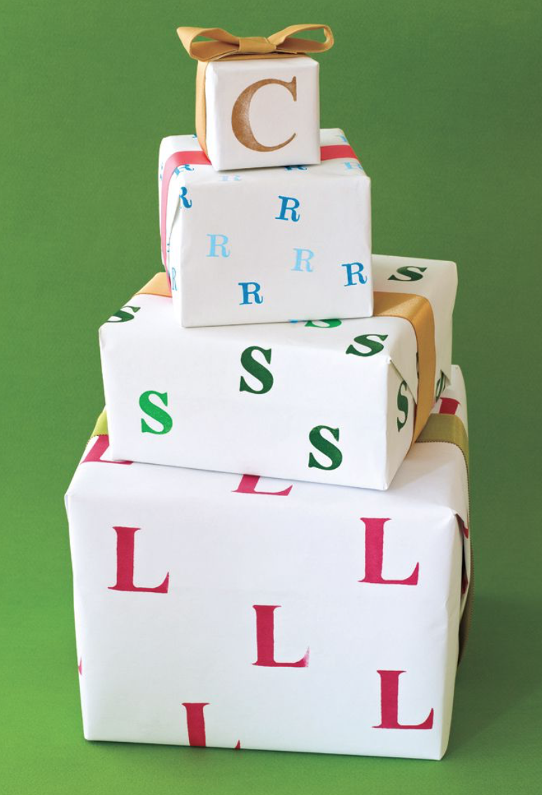 letter stamp your gift wrap to make it more personalized