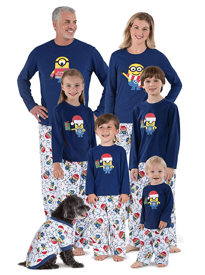matching christmas pajamas with minion design