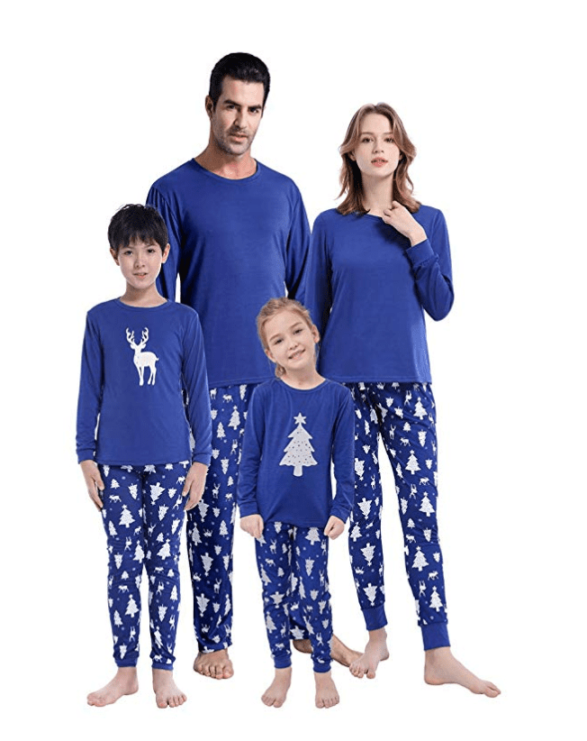 matching family chirsmtas pajams for the festive family