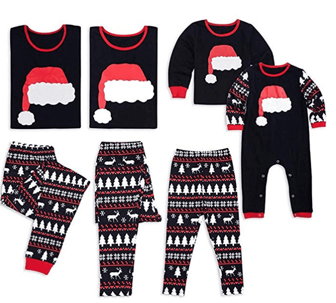 matching family christmas pajamas with santa hat design