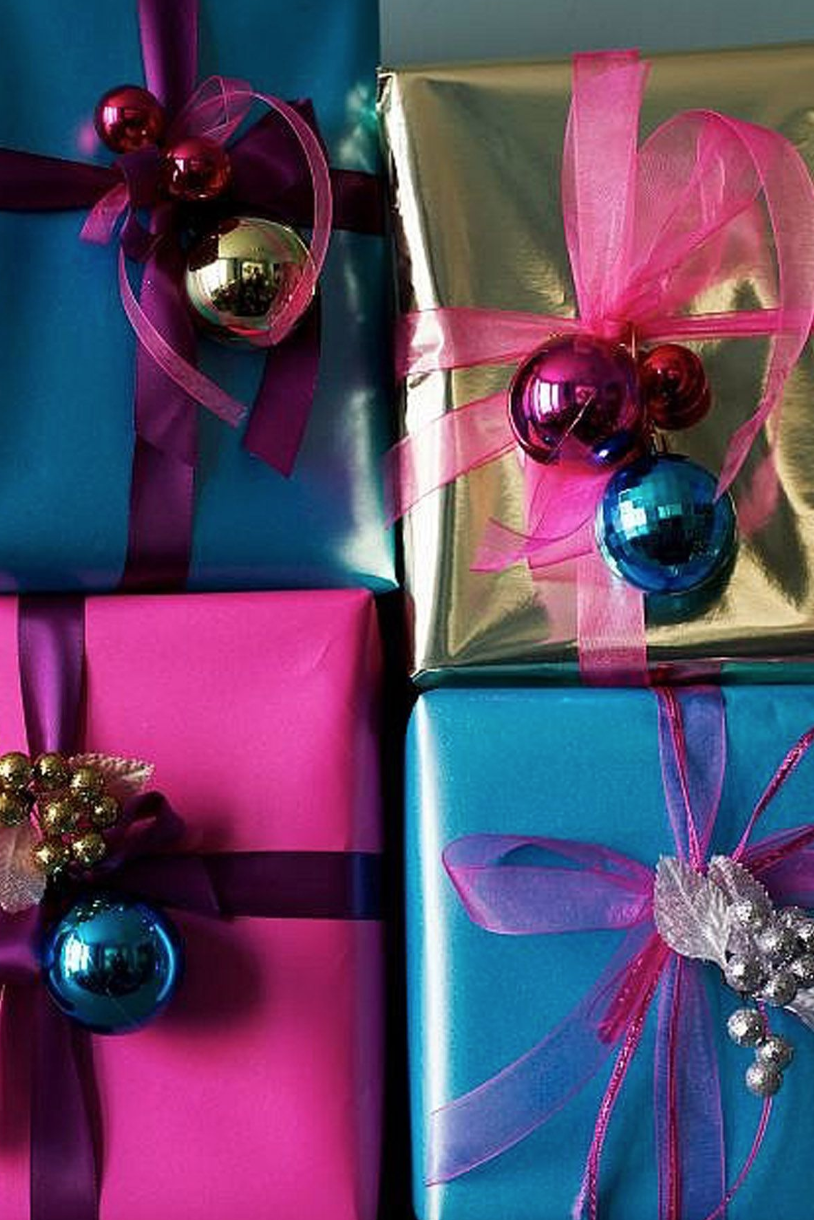 metallic gift wrap with holiday decorations