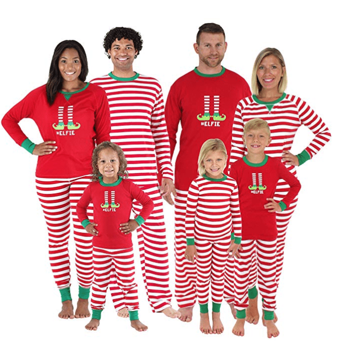 red striped elf matching family christmas pajamas
