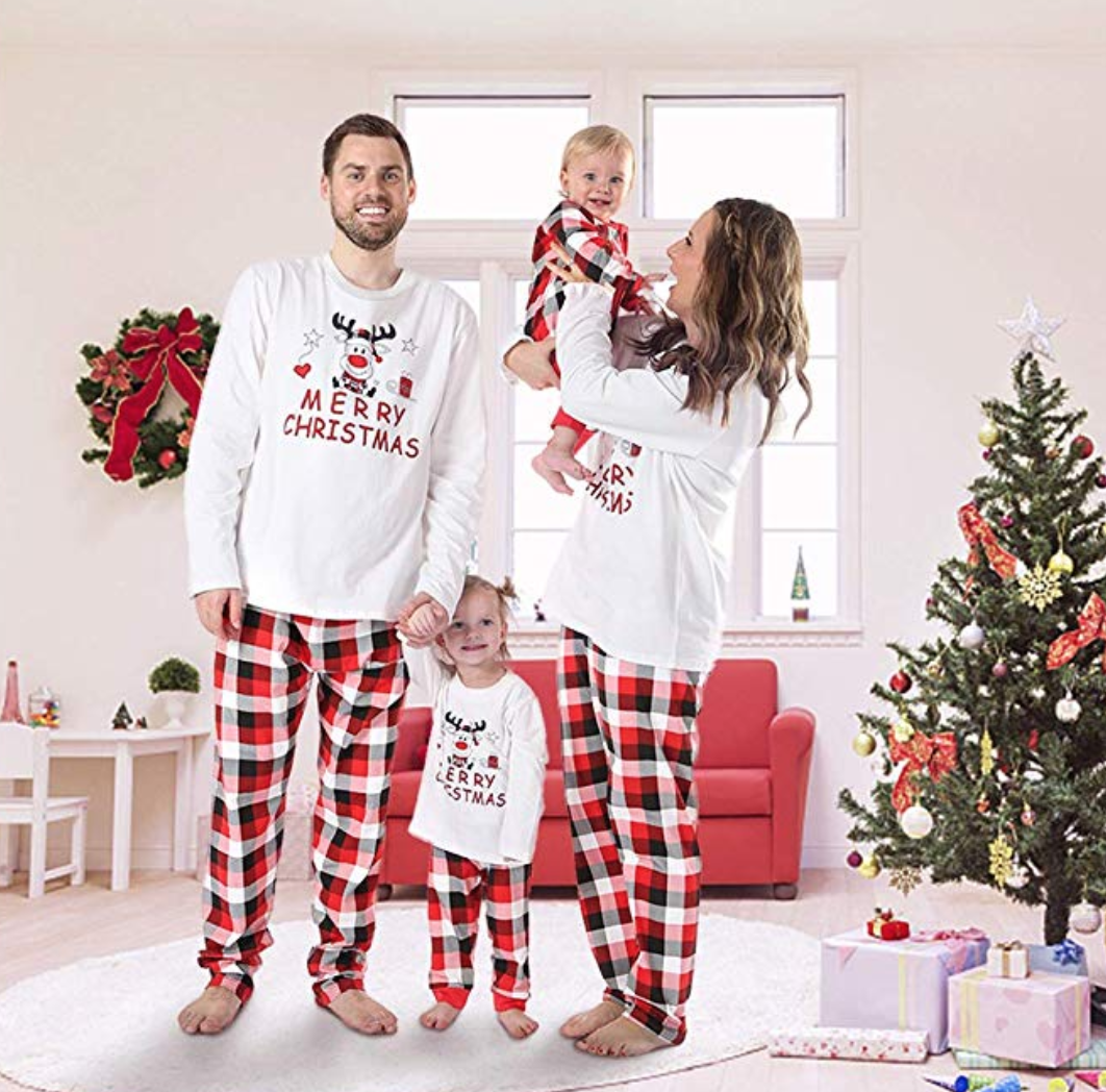 reindeer classic plaid matching family christmas pajamas