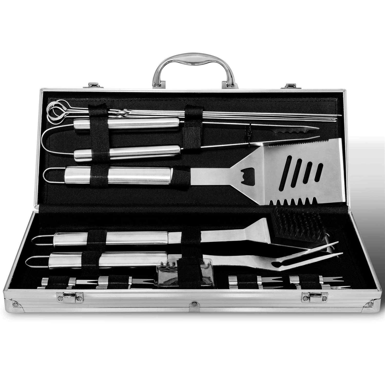 18 pieces stainless steel bbq grill tool set