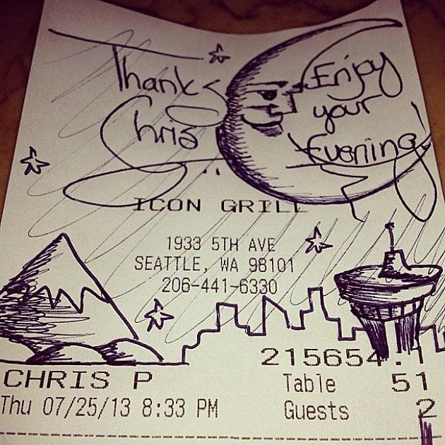 artist notes on dinner receipts