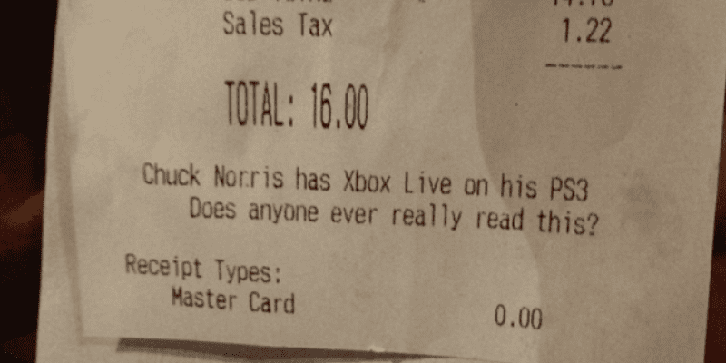 55 Hilarious Notes on Dinner Receipts