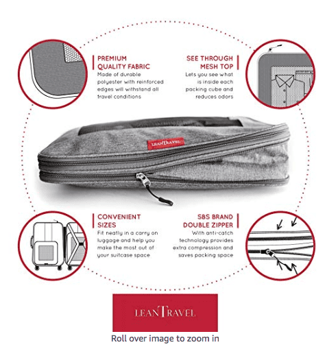 LeanTravel Packing Cubes are great for compressing clothes